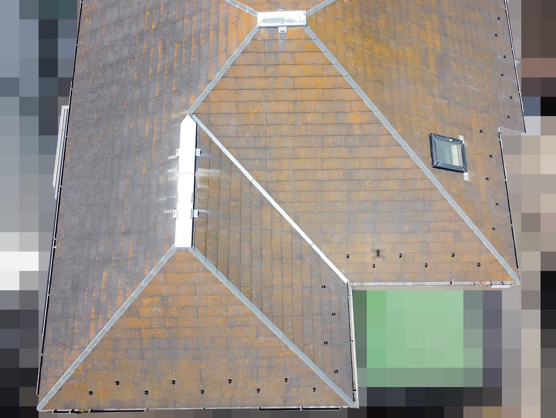 【神奈川県茅ケ崎市】築23年、アスベスト使用のスレート屋根の屋根点検の事例 東面
