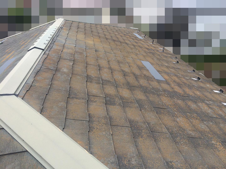 【東京都八王子市】スレート屋根、棟板金の釘増し打ち、ひび割れをガルバで部分カバーする工事の事例 工事完了