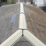 【東京都八王子市】スレート屋根、棟板金の釘増し打ち、ひび割れをガルバで部分カバーする工事の事例