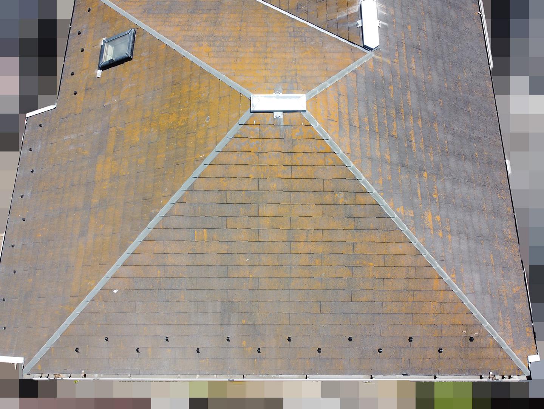 【神奈川県茅ケ崎市】築23年、アスベスト使用のスレート屋根の屋根点検の事例 西面
