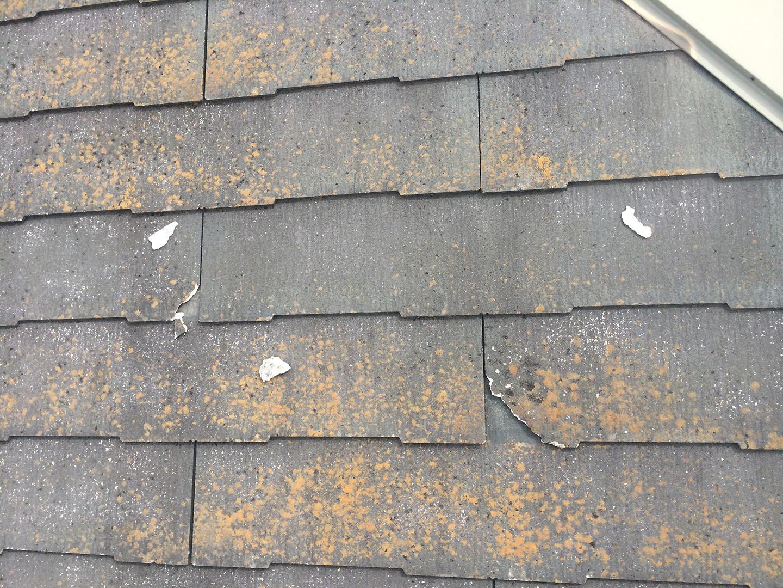 【東京都八王子市】スレート屋根、棟板金の釘増し打ち、ひび割れをガルバで部分カバーする工事の事例 スレート風化現象