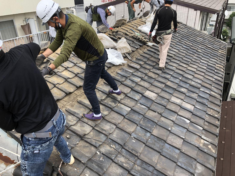古い屋根材の撤去 和瓦 葺き替え