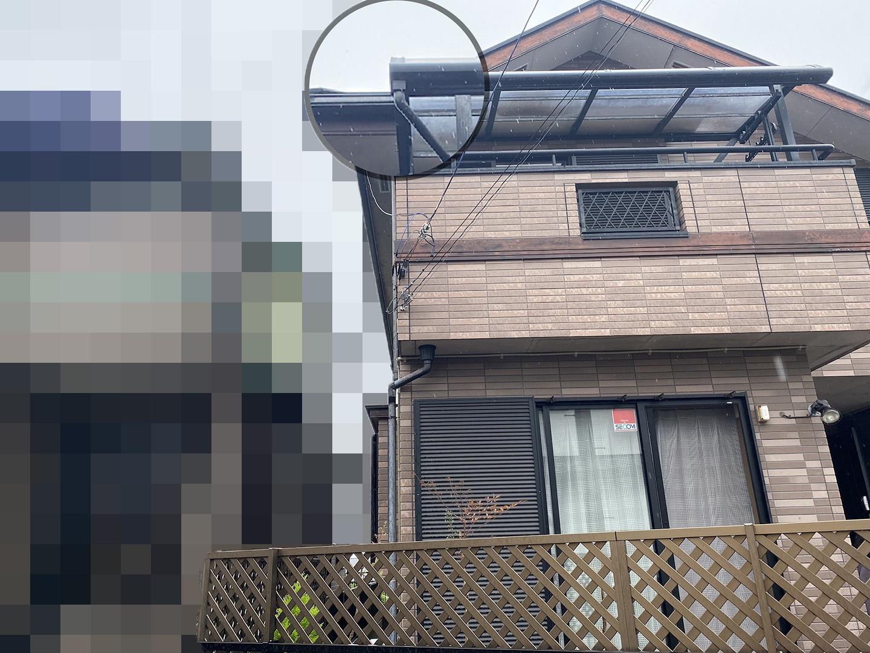 【千葉県松戸市】アスベスト入りのスレート屋根の屋根点検の事例 雨どいの詰まりの掃除
