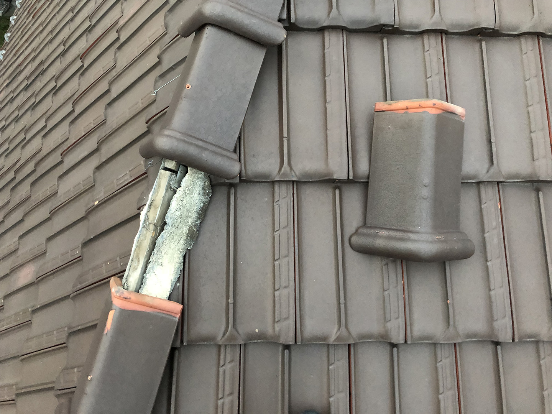 瓦屋根の固定確認 棟( むね ) → 屋根のてっぺん、屋根の山折り部