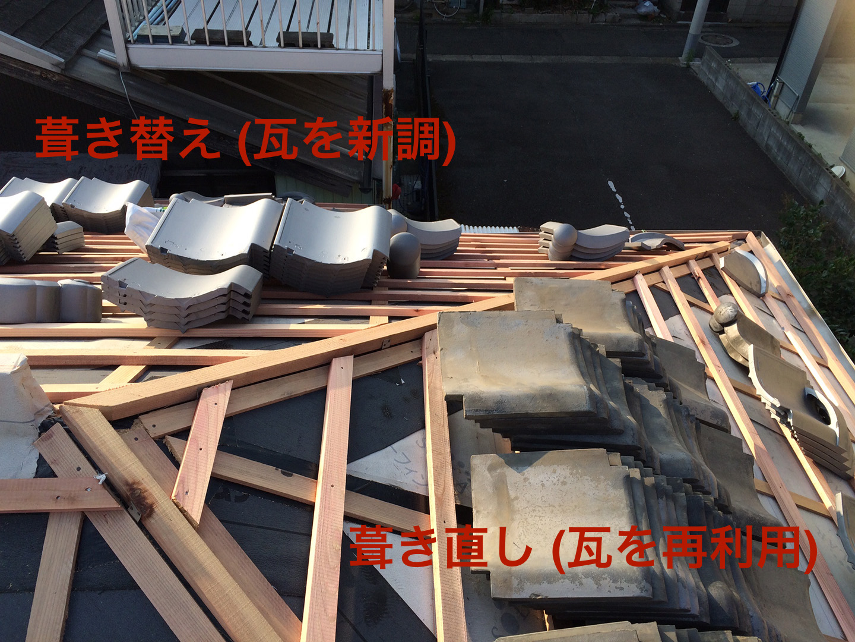 瓦の葺き直し工事