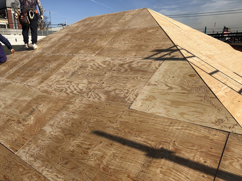 12mmの構造用合板で屋根下地の補強