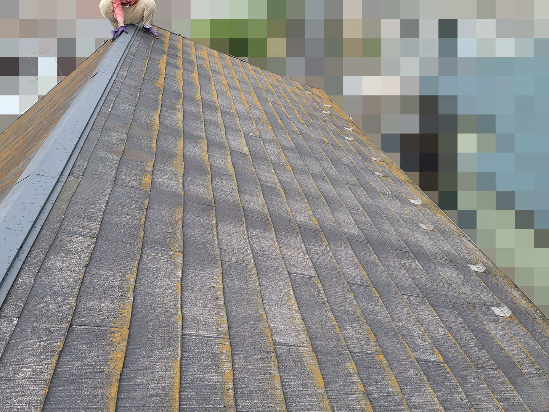 【千葉県松戸市】アスベスト入りのスレート屋根の屋根点検の事例 屋根材の状態