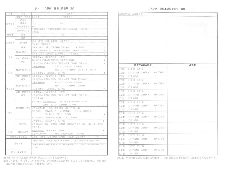災害予防パック 耐風診断の調査票