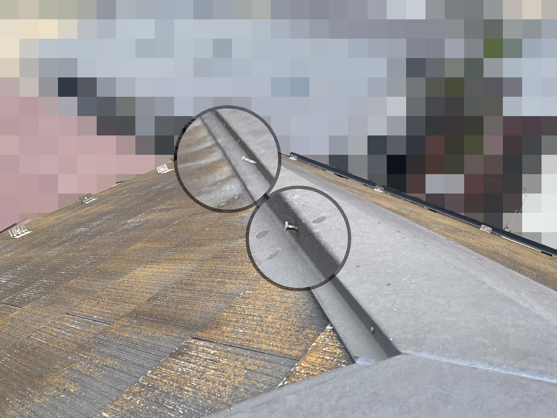 【千葉県松戸市】アスベスト入りのスレート屋根の屋根点検の事例 棟の状態